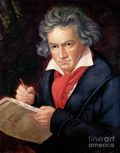 Wall Art - Painting - Ludwig Van Beethoven Composing His Missa Solemnis by Joseph Carl Stieler