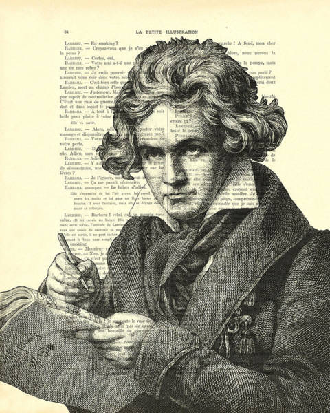 Piano Digital Art - Ludwig Van Beethoven Portrait Black And White by Madame Memento