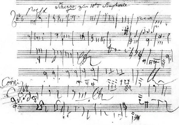 Controversial Wall Art - Drawing - Ludwig Van Beethoven Sketch For Tenth Symphony by Ludwig van Beethoven