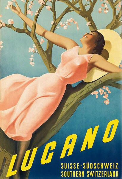Long Dress Painting - Lugano, Happy Woman On Tree by Long Shot