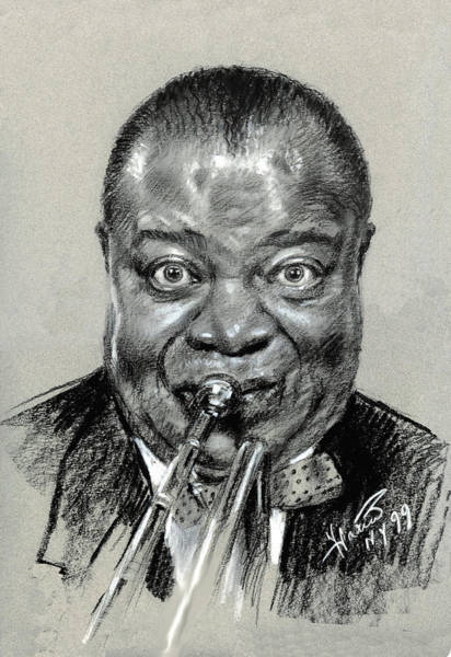 Wall Art - Pastel - Louis  Armstrong by Ylli Haruni