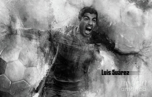 Super Cup Wall Art - Painting - Luis Suarez 1 by Gull G
