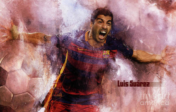 Super Cup Wall Art - Painting - Luis Suarez by Gull G