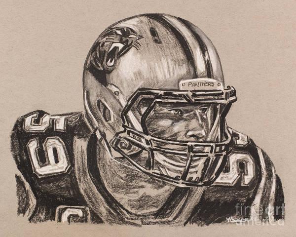 Super Bowl Drawing - Luke Kuechly Portrait by Robert Yaeger