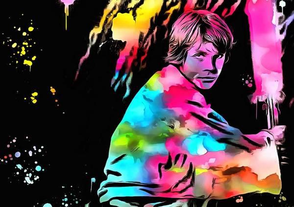 Star Wars Wall Art - Painting - Luke Skywalker Paint Splatter by Dan Sproul
