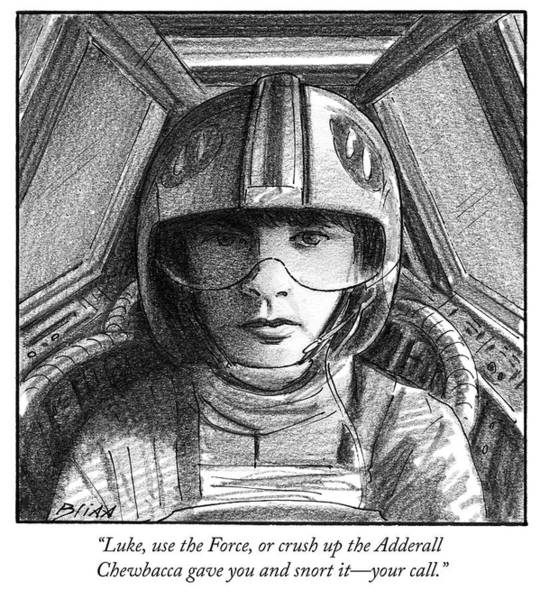 Pilots Drawing - Luke Use The Force by Harry Bliss