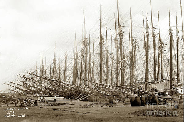 Photograph - Lumber Docks Havana Cuba 1898 by California Views Archives Mr Pat Hathaway Archives