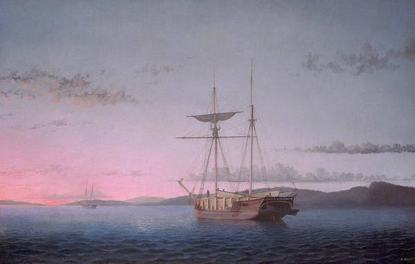 Lane Painting - Lumber Schooners At Evening On Penobscot Bay by Fitz Henry Lane