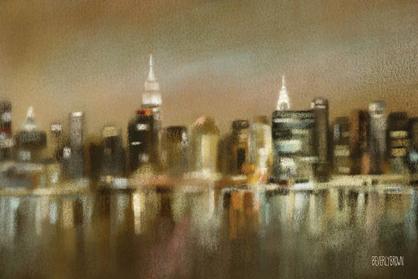 Sepia Painting - Luminous New York Skyline  by Beverly Brown