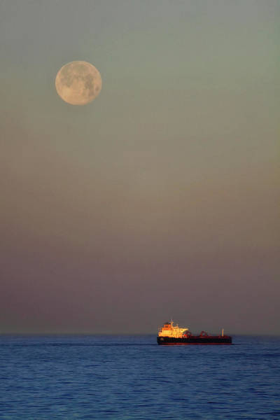 Photograph - Luna And The Ship - Ocean - Cargo Ship - Seascape by Jason Politte