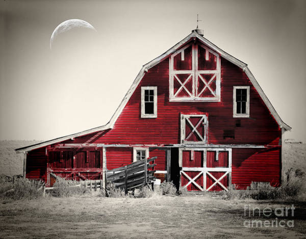 Red Moon Painting - Luna Barn by Mindy Sommers