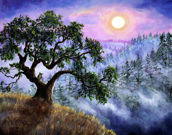 Owl Painting - Luna In Mist And Fog by Laura Iverson