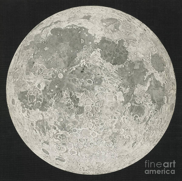 Drawing - Lunar Cartography by John Russell