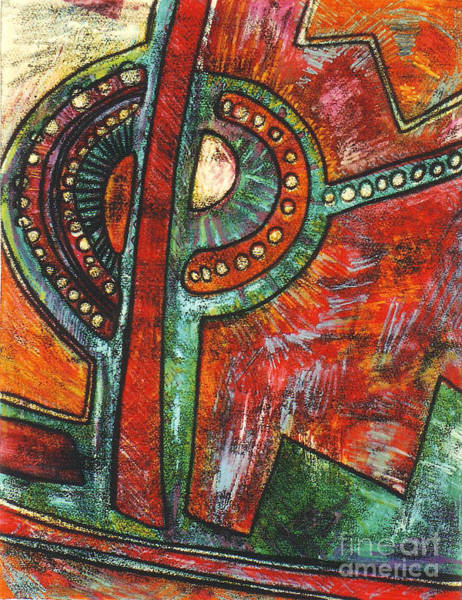 Monotype Mixed Media - Lunar Eclipse I I  by Pamela Iris Harden