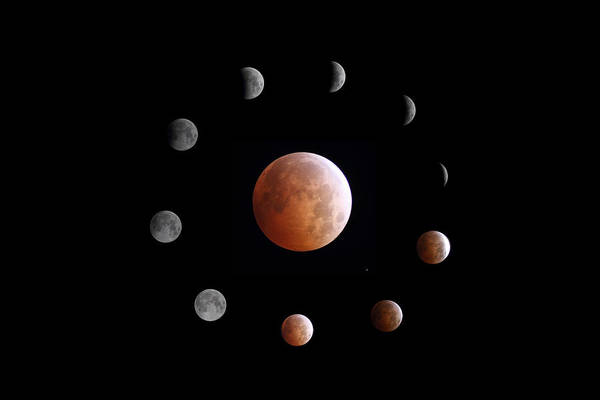 Photograph - Lunar Eclipse Phases by John Chumack