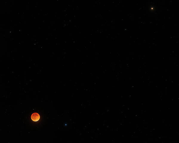 Photograph - Lunar Eclipse, Spica, And Mars by TM Schultze