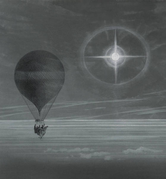 Night Time Drawing - Lunar Halo And Luminescent Cross Observed During The Balloon Zenith's Long Distance Flight by French School