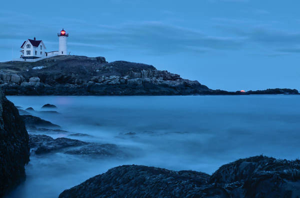 Photograph - Lunar Perigee Moonrise And Nubble Lighthouse, Cape Neddick, York by Thomas Gaitley