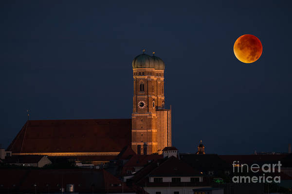 Photograph - Lunare Eclipse Above Munich by Hannes Cmarits