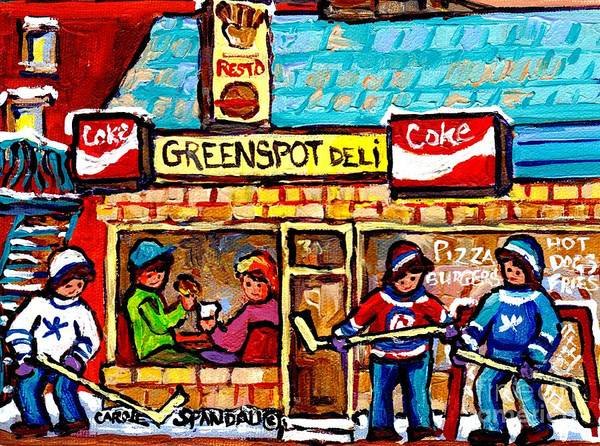 Painting - Lunch At Greenspot Deli Montreal Winter Street Hockey Game Scene Painting For Sale Carole Spandau    by Carole Spandau
