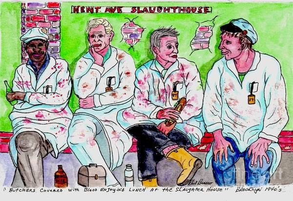 Painting - Lunch Break At The Slaughter House by Philip Bracco