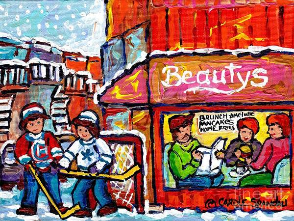 Painting - Lunch-time Winter Fun At Beauty's Restaurant Montreal Street Hockey Game Canadian Art Carole Spandau by Carole Spandau