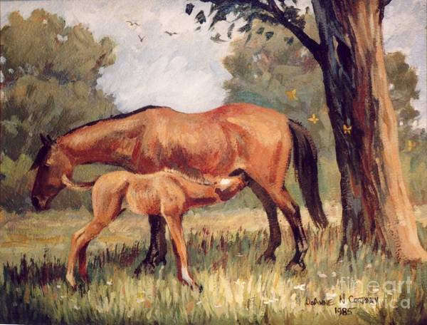 Aqha Painting - Lunchtime   Mare And Foal by JoAnne Corpany