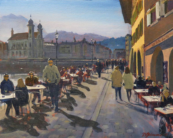 Painting - Lunchtime In Luzern by David Gilmore