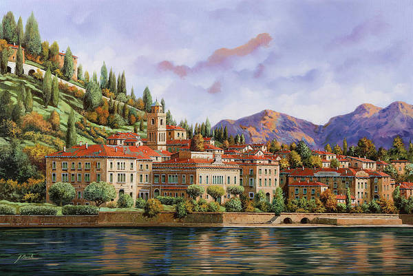Lake Como Painting - lungolago di Bellagio by Guido Borelli