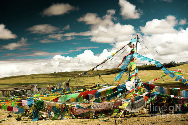 Wall Art - Photograph - Lungta Near Lake Manasarovar Kailash Yantra.lv Tibet by Raimond Klavins