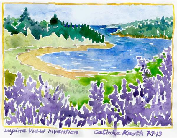 Painting - Lupine Coastal Scene Watercolor by Catinka Knoth