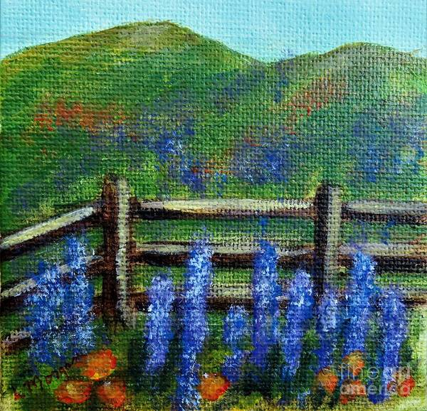 Painting - Lupines And Poppies by Laurie Morgan
