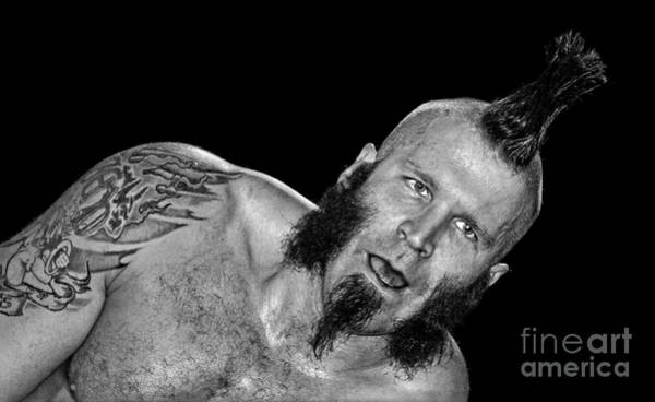 Pro Wrestler Wall Art - Photograph - Luster The Legend Preparing For A Comeback Black And White Version  by Jim Fitzpatrick