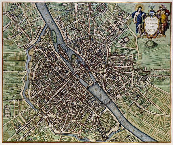 Digital Art - Lutetia Parisiorum Vulgo Paris - 1657 Antique Map Of Paris Joannes Janssonius by Serge Averbukh