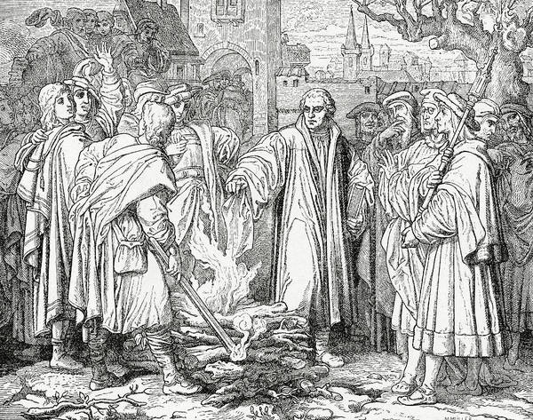 Bonfire Wall Art - Drawing - Luther Burning The Papal Bull by English School