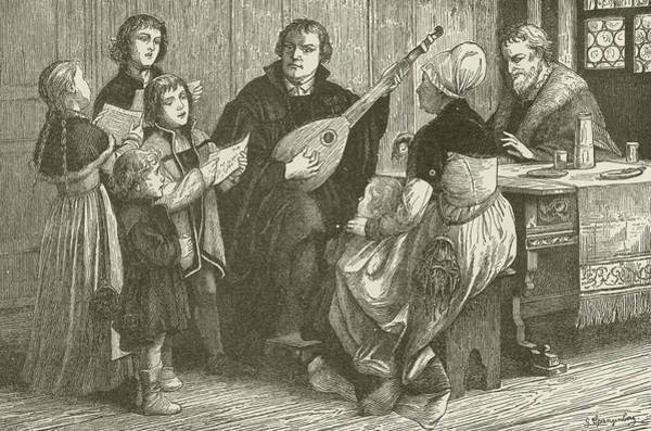 Choral Wall Art - Drawing - Luther In The Midst Of His Family by American School
