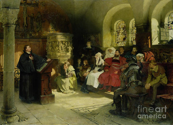 Wall Art - Painting - Luther Preaches Using His Bible Translation While Imprisoned At Wartburg by Hugo Vogel