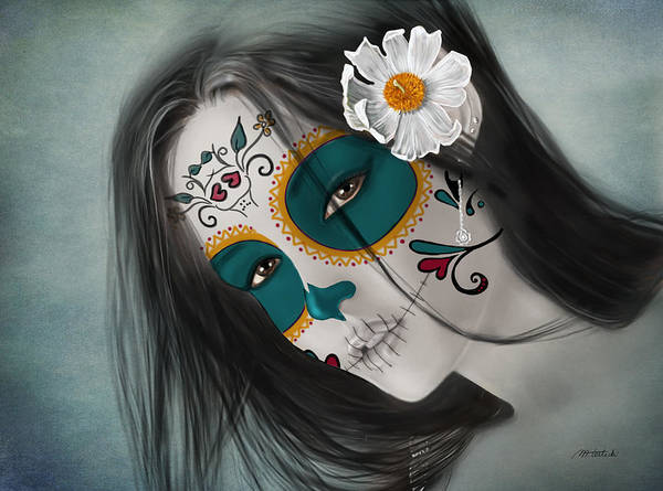 Hispanic Painting - Lux Inmortal Day Of The Dead Sugar Skull  by Maggie Terlecki