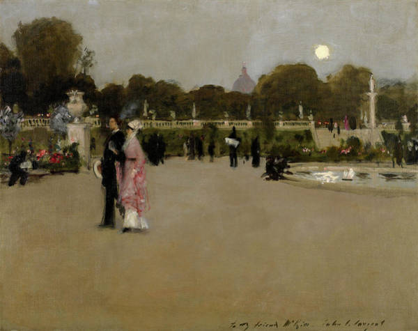 Circular Painting - Luxembourg Gardens At Twilight, 1879 by John Singer Sargent