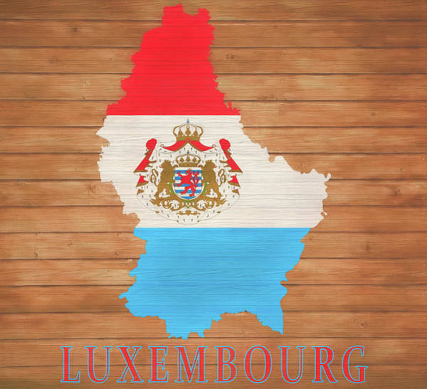 Belgium Mixed Media - Luxembourg Rustic Map On Wood by Dan Sproul