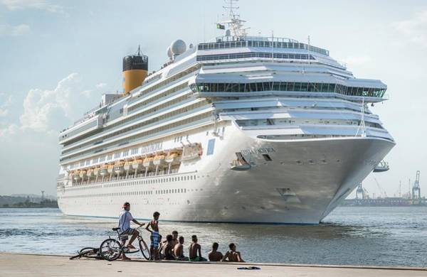 Photograph - Luxury Cruise Ship And Street Kids by Alexandre Rotenberg
