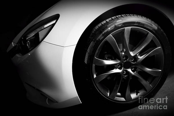Car Wash Photograph - Luxury Sports Car Close Up Of Aluminium Rim And Headlight by Michal Bednarek