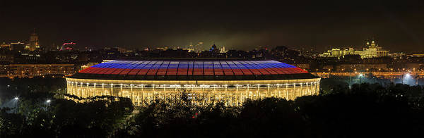 Worldcup Photograph - Luzhniki Stadium At Summer Night Against The Background Of The Ministry Of Foreign Affairs, The Cath by Oleg Ivanov