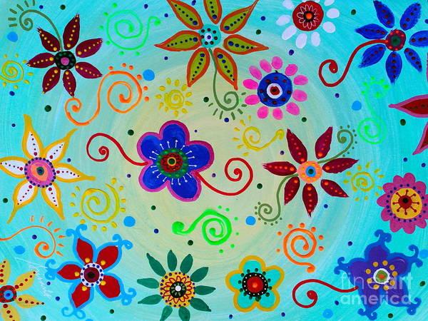 Painting - Lv Whimsical Flowers IIi by Pristine Cartera Turkus