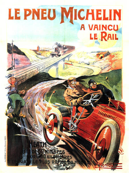 Vintage Automobiles Mixed Media - Lw Pneu Michelin A Vaincu Le Rail - Vintage Tyre Advertising Poster by Studio Grafiikka