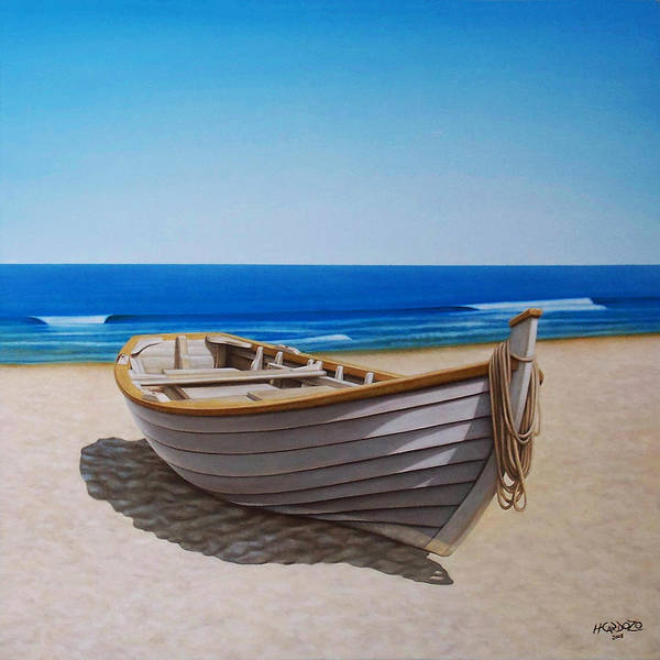 Fishing Boat Painting - Lying On The Sand by Horacio Cardozo