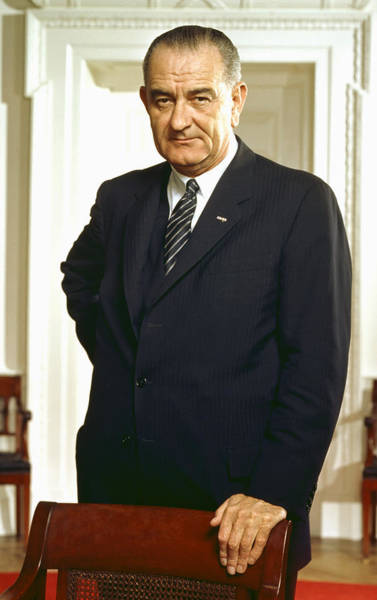 Democratic Party Photograph - Lyndon B. Johnson Portrait by War Is Hell Store