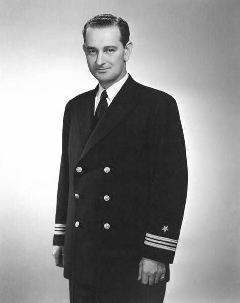 Democratic Party Photograph - Lyndon Johnson - Naval Uniform - Ww2 by War Is Hell Store