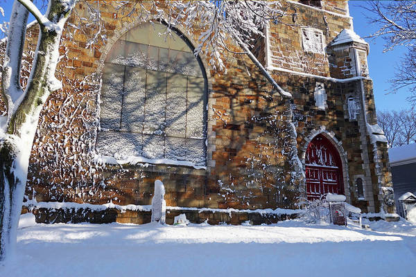 Photograph - Lynn Central Congregational Church Lynn Ma Winter by Toby McGuire