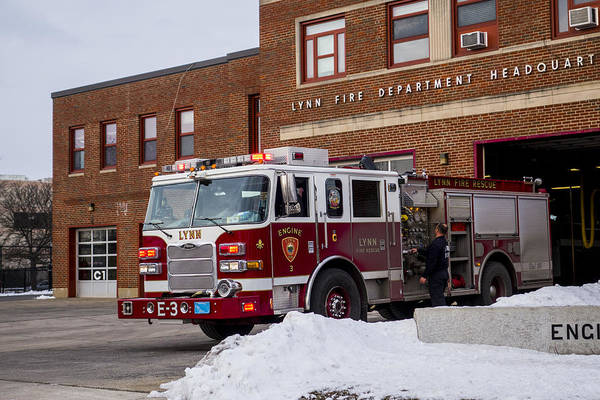 Photograph - Lynn Ma Fire Truck Fire Station by Toby McGuire